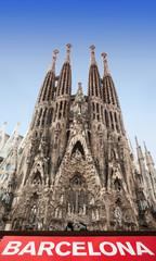 Facade of Sagrada Familia in Barcelona, Spain.