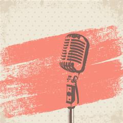 Retro Microphone Brush vector