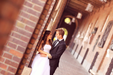 Beautiful bridal couple in Szeged, Hungary