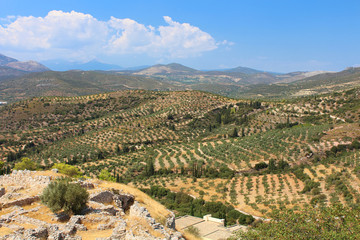 Green hills and valleys around the ruins of Mycenae, Peloponnese