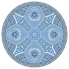 decorative blue colour design of circle dish template