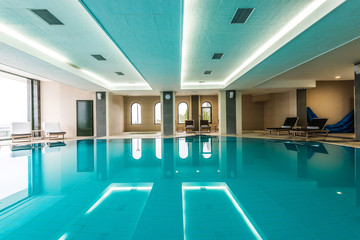 Luxury swimming pool modern hotel