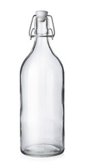 Closed wine bottle on white background