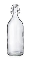 Closed wine bottle on white background