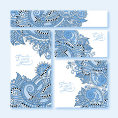 collection of blue colour decorative floral greeting cards