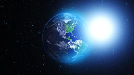 Planeta Ziemia w kosmosie lub galaktyce w mgławicach