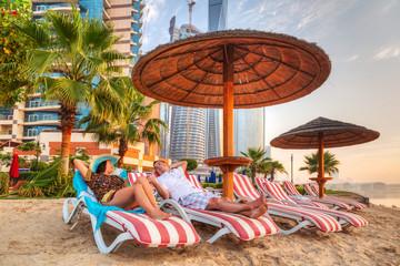 Printed roller blinds Dubai Couple on sun holidays at the Persian Gulf, Abu Dhabi