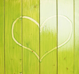 Heart drawn over the green boards