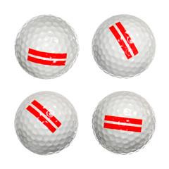set of golf balls isolated on white