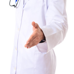 Doctor making a deal over isolated white background