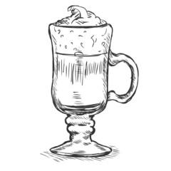 Vector Sketch Glass with Irish Coffee