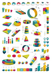 Collections of infographics 3D design diagrams.