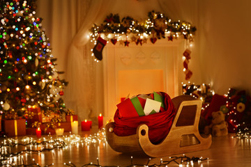 Christmas Sleigh With Bag Sledge Sack Full Of Letters Xmas Mail