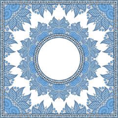 blue colour floral round pattern in ukrainian oriental ethnic
