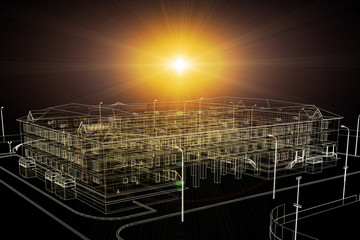 Wire-frame buildings with light on dark background