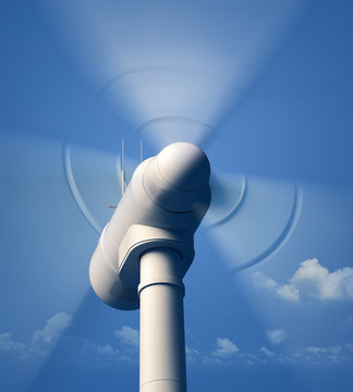 Wind Turbine rotating close-up