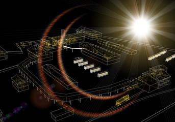 Wire-frame industrial buildings with light on dark background