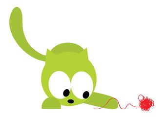 kot zabawa kłębkiem nici