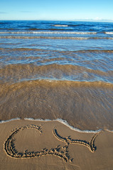 two hearts draws in the sand