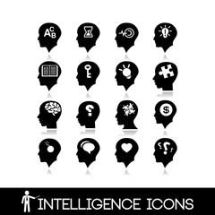 Head brain icons set1