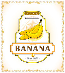 Three ripe bananas on a product label
