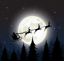 Santa on a sleig with reindeers over full moon