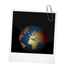 Illustration of our planet on photo frame background