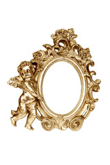 Oval baroque gold picture frame with cupid, clipping path.