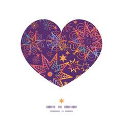 Vector textured christmas stars heart silhouette pattern frame