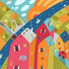 Разноцветный декоративный город