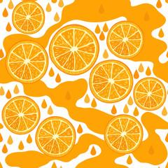Orange juice. Seamless background with orange slices.