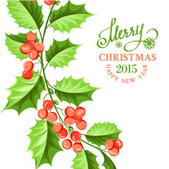 Christmas mistletoe branch drawing.