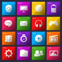 Colored Computer Icons metro style set