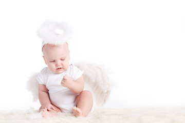 Cute infant baby with angel wings and nimbus isolated on white