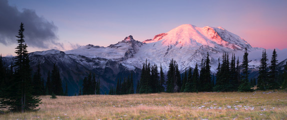 Smokey Sunrise Mt Rainier National Park Cascade Volcanic Arc