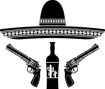 tequila, sombrero and two pistols. stencil