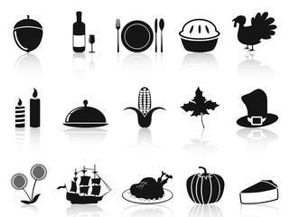 black thanksgiving icons set