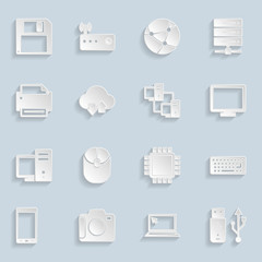 Paper Technology Icons Set