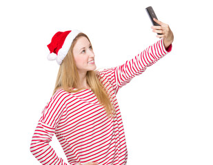 Christmas woman take selfie