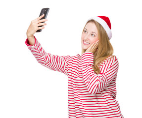 Woman with red hat and take selfie