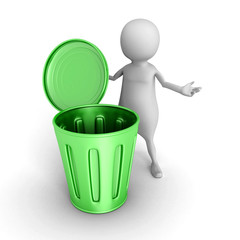3d small person with green trash can