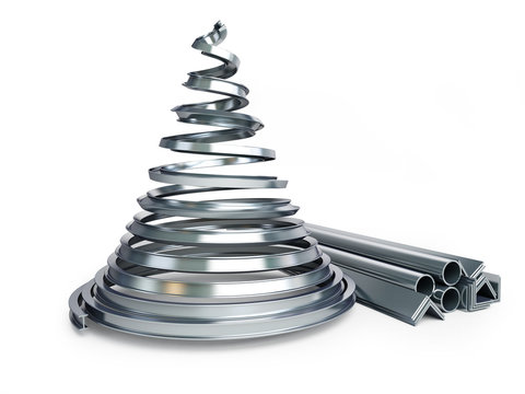 Christmas tree metal on a white background