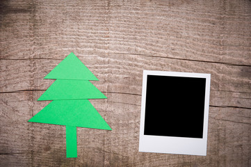 Christmas tree and old instant photo