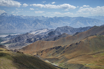 Great view of Himalayan mountain range and green valley of Leh