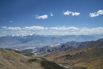 Great view of Himalayan mountain range and green valley of Leh Ladakh