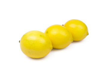 Wall Mural - Three Lemons On White Background