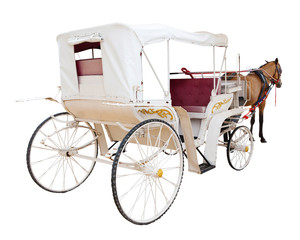 rear view of horse fairy tale carriage cabin isolated white back
