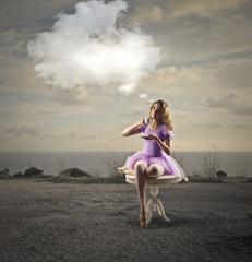 Dancer drinking tea