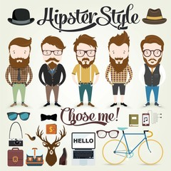 Hipster character with elements and icons