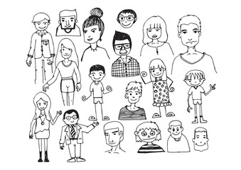 people hand drawn  and people Sketch by pen